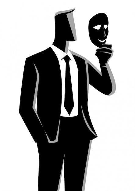 Uomo d'affari tenendo una maschera davanti alla sua faccia Vettore Premium