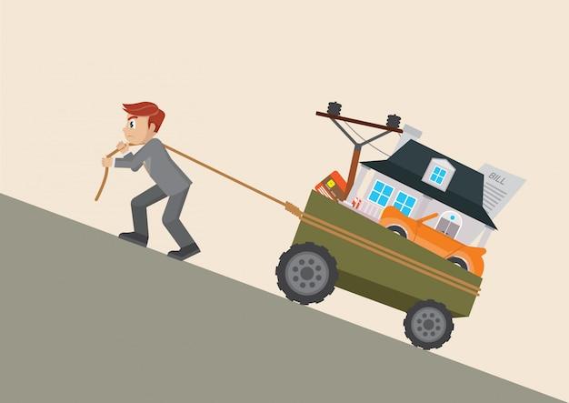 Uomo d'affari tirando un carrello con debito. Vettore Premium