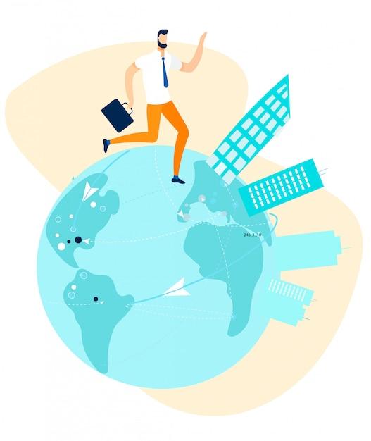 Uomo d'affari walking, running round globe cartoon Vettore Premium