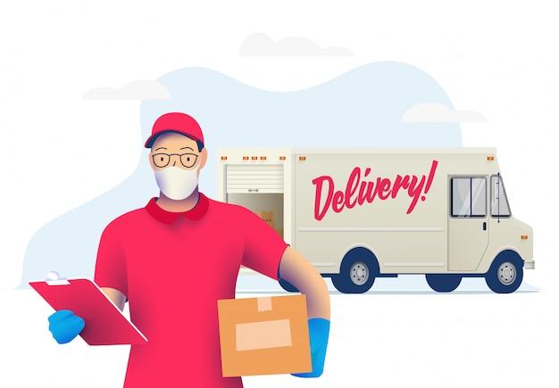 Uomo del corriere di consegna con la maschera protettiva medica sul suo pacchetto della tenuta del fronte con il camion di consegna. consegna durante il periodo di quarantena. . Vettore Premium