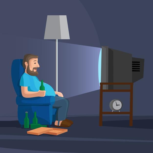 Uomo del fumetto che guarda tv con la bottiglia dell'illustrazione di vettore della birra Vettore Premium