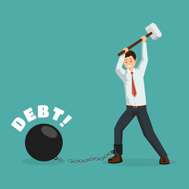 Uomo del fumetto che rompe le catene finanziarie con la mazza. debitore felice, uomo d'affari che paga i debiti Vettore Premium