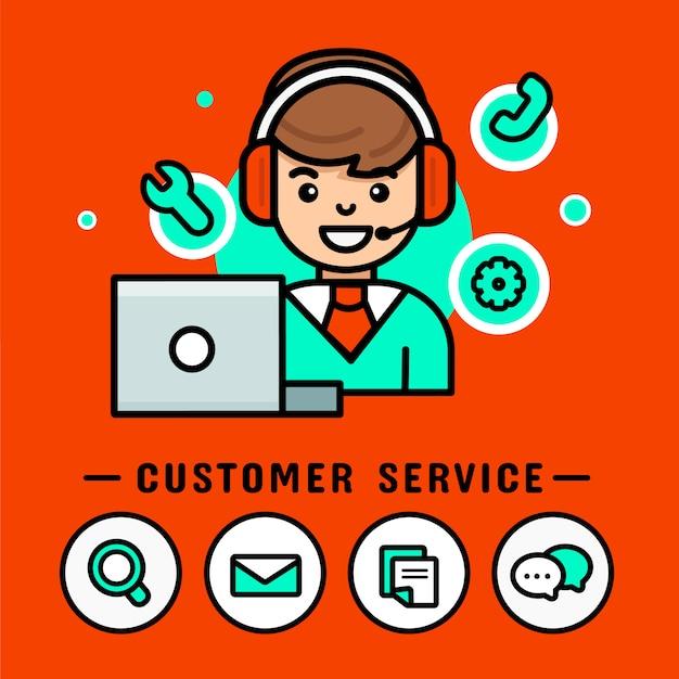 Uomo dell'operatore con le cuffie. call center vector, moderno banner design vettoriale Vettore Premium