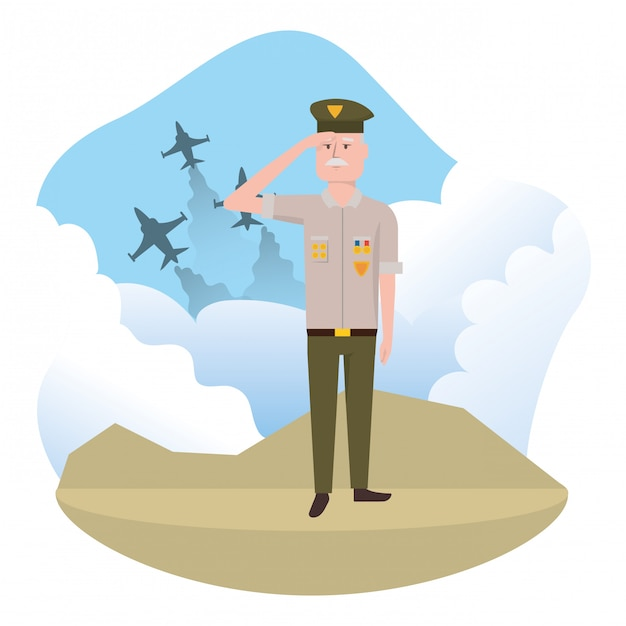 Uomo della forza militare Vettore Premium