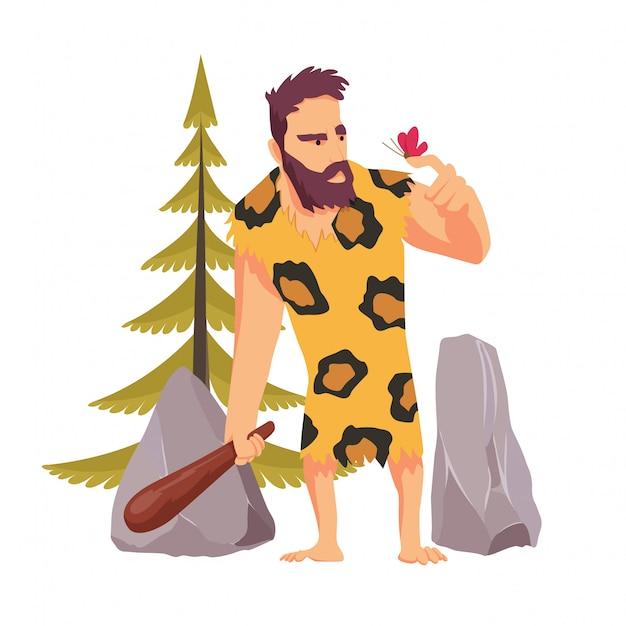 Uomo delle caverne con un bastone di legno che guarda la farfalla vestita di pelle di leopardo Vettore Premium