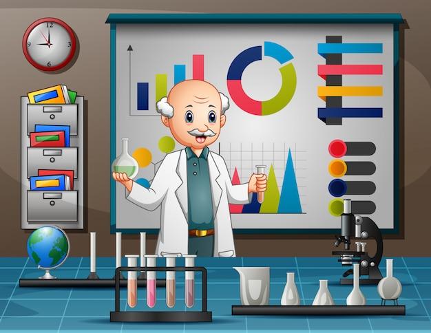 Uomo dello scienziato che effettua ricerca in un laboratorio Vettore Premium