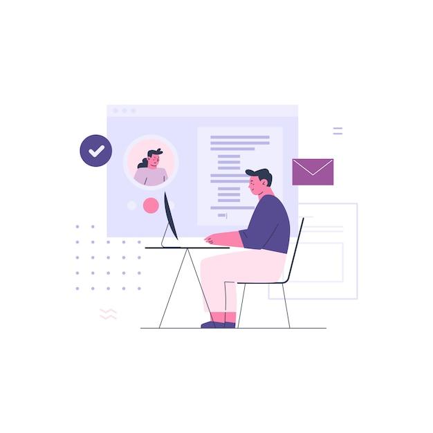 Uomo di affari che lavora con il collega online Vettore Premium