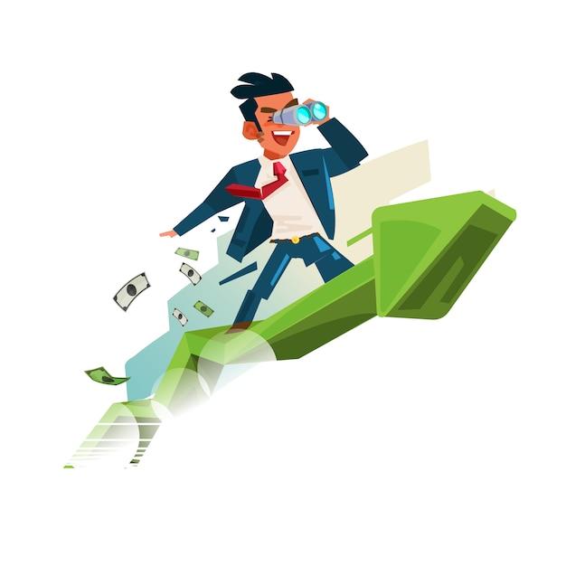 Uomo di affari che tiene binoculare sul grafico alto. alla ricerca di denaro e di successo nel concetto di business Vettore Premium