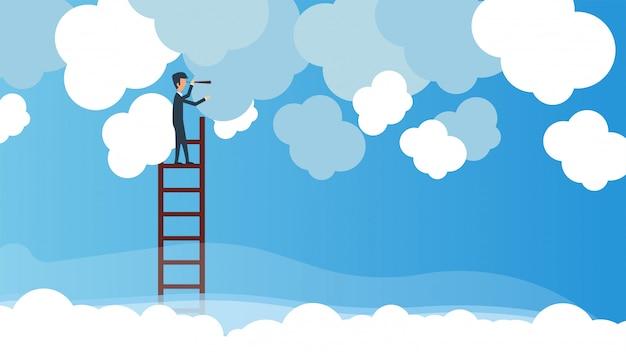 Uomo di affari con un telescopio sulle scale nel cielo Vettore Premium