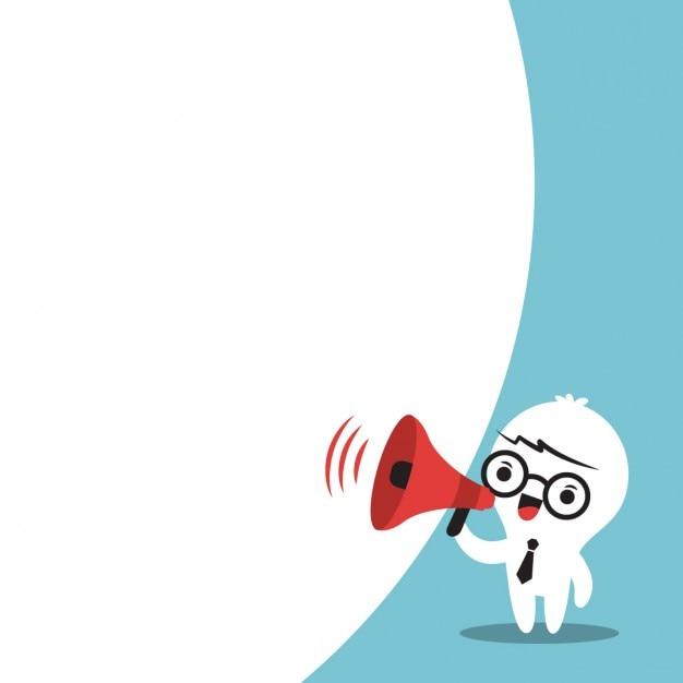 Uomo di affari sul megafono fare un annuncio con fumetto Vettore gratuito