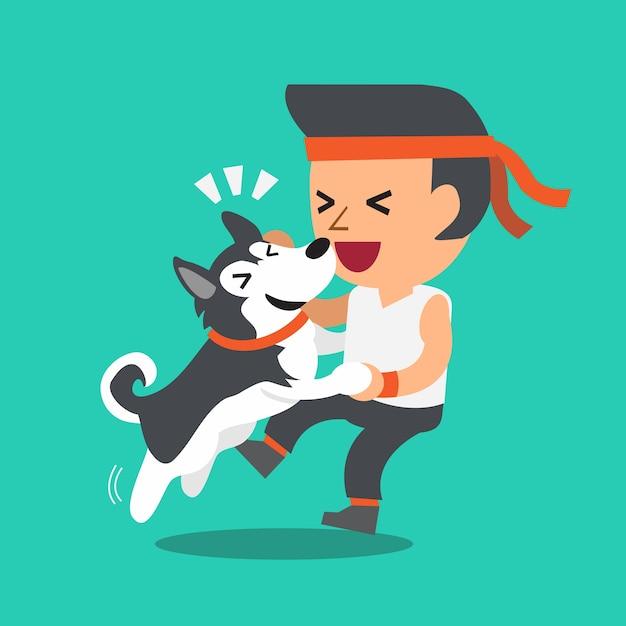 Uomo di cartone animato con cane husky siberiano scaricare