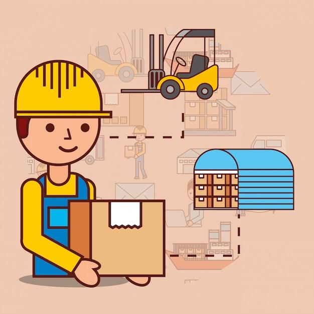 Uomo di consegna con magazzino scatola di cartone e carrello elevatore Vettore gratuito