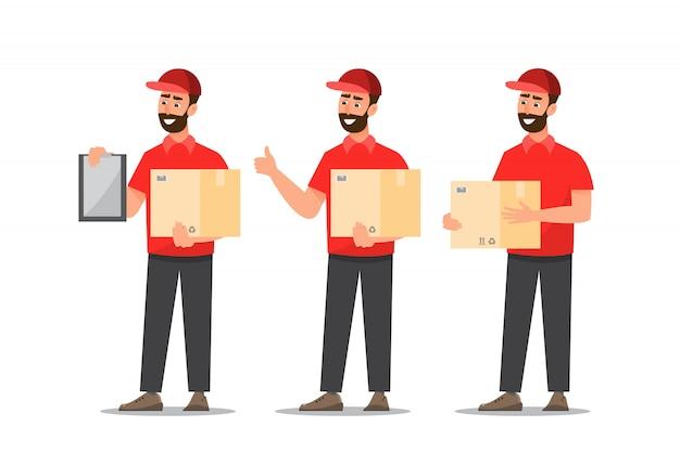 Uomo di consegna con scatola. progettazione del postino isolata su fondo bianco Vettore Premium