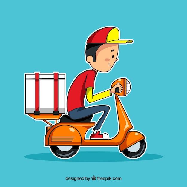 Uomo di consegna disegnato a mano su scooter Vettore gratuito