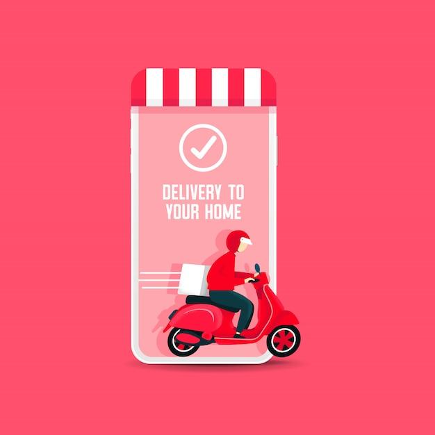 Uomo di consegna in sella a uno scooter dal telefono Vettore Premium