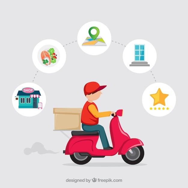Uomo di consegna su scooter con disegno piatto Vettore gratuito