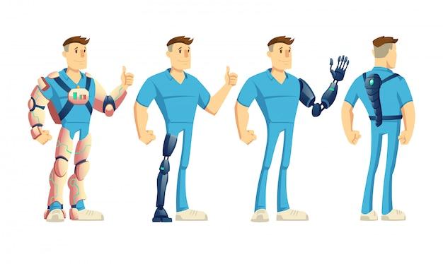 Uomo disabile che indossa esoscheletro innovativo o esosuit Vettore gratuito