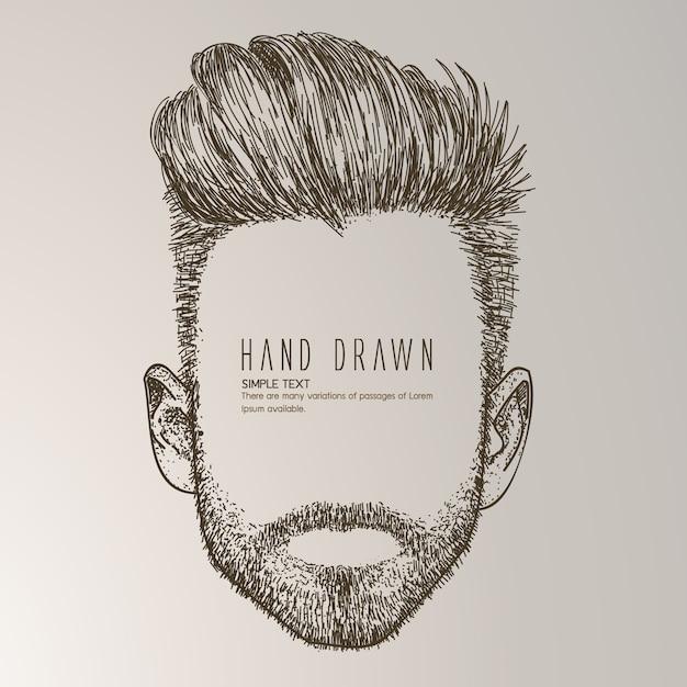 Uomo disegnato a mano con la barba Vettore gratuito