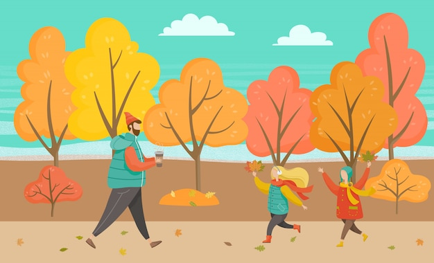 Uomo e bambini che camminano in autumn park Vettore Premium