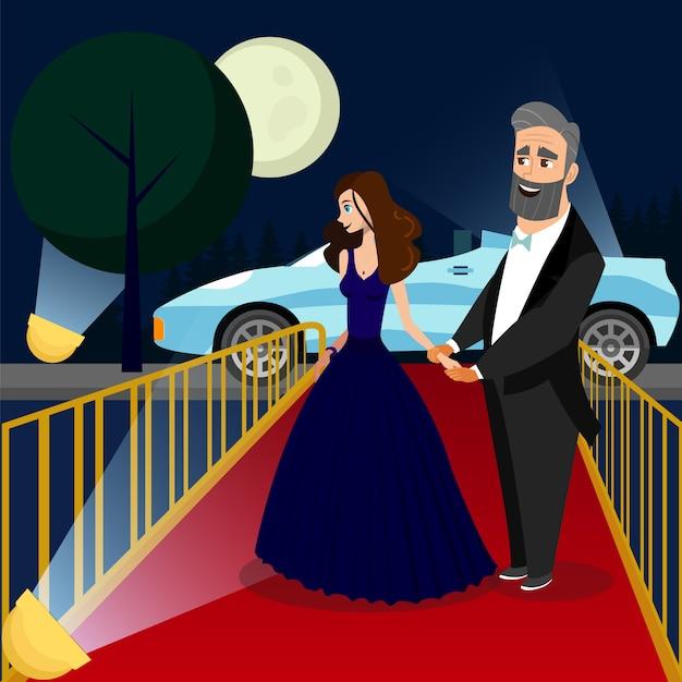 be3c4525a4f0 Uomo e donna all illustrazione di colore di evento di vip ...