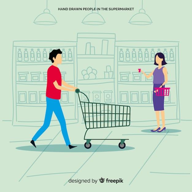 Uomo e donna che comprano nel supermercato, illustrazione con caratteri Vettore gratuito
