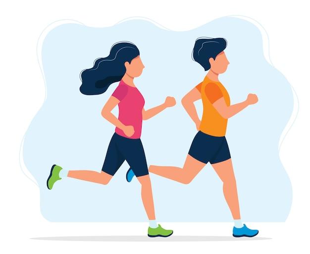 Uomo e donna che corrono Vettore Premium