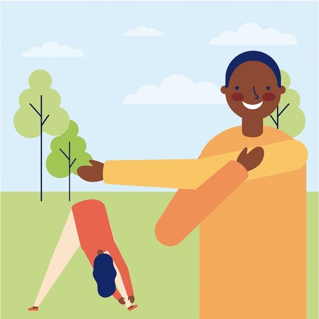 Uomo e donna che fanno esercizio all'aperto Vettore gratuito