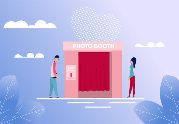 Uomo e donna che stanno vicino al fumetto della cabina della foto Vettore Premium