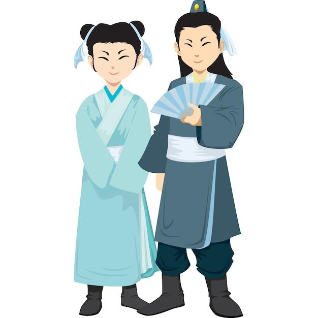 Uomo e donna cinesi nell'abbigliamento tradizionale isolato su fondo bianco. Vettore Premium