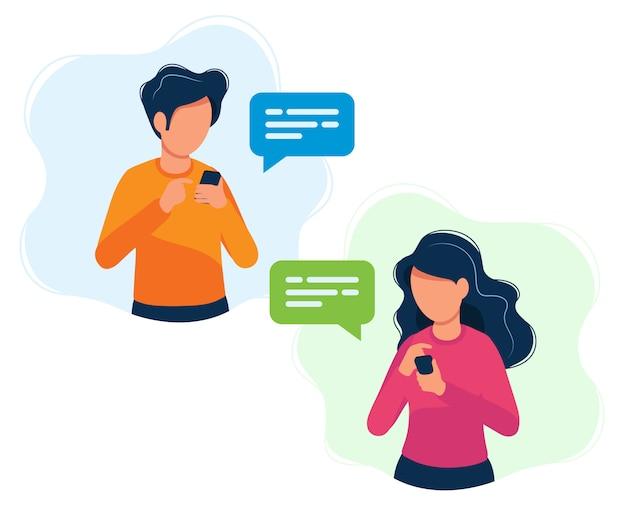 Uomo e donna con gli smartphone Vettore Premium