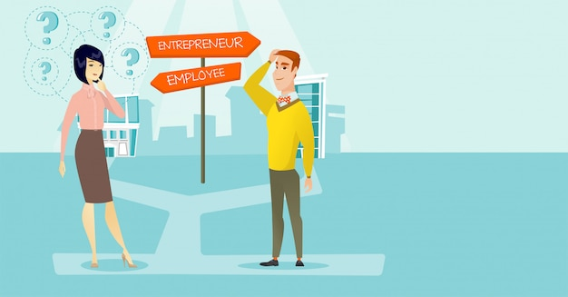 Uomo e donna confusi che scelgono la via di carriera. Vettore Premium