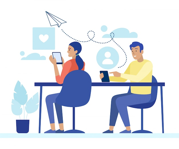 Uomo e donna in chat e messaggistica per telefono Vettore Premium