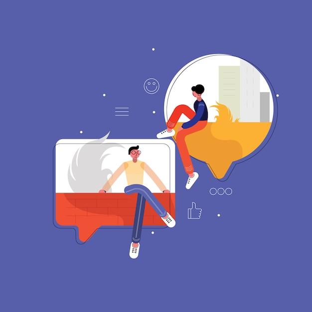 Uomo e donna in chat Vettore Premium