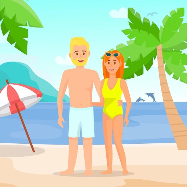 372d36cd5d2e Uomo e donna in costumi da bagno sulla spiaggia di disegno piatto. Vettore  Premium
