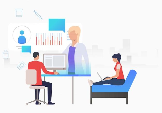 Uomo e donna, navigazione internet per sito web medico Vettore gratuito