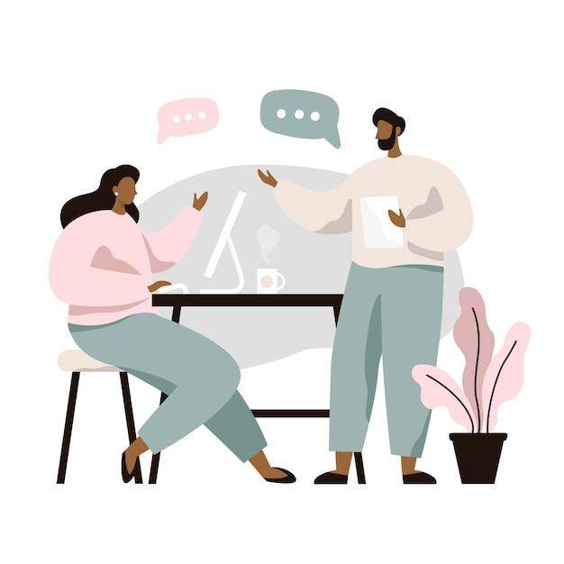 Uomo e donna seduti al tavolo e discutere idee, scambiarsi informazioni, risolvere problemi. brainstorm o discussione. lavoro di squadra. Vettore Premium