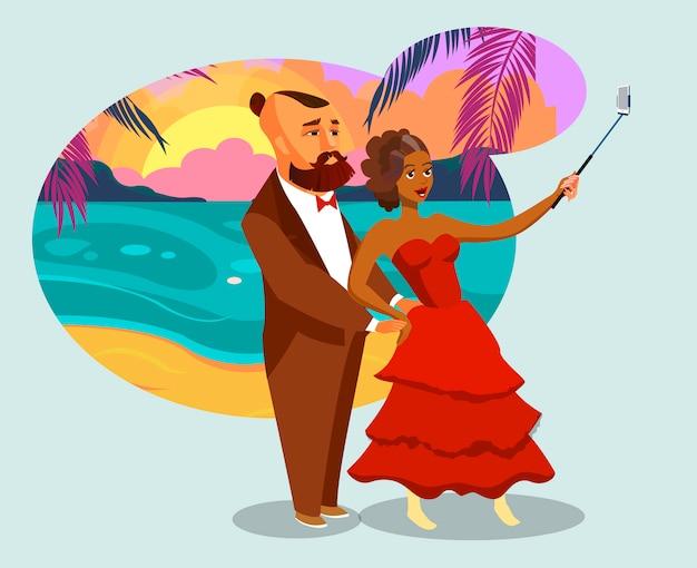 Uomo e donna sull'isola tropicale Vettore Premium