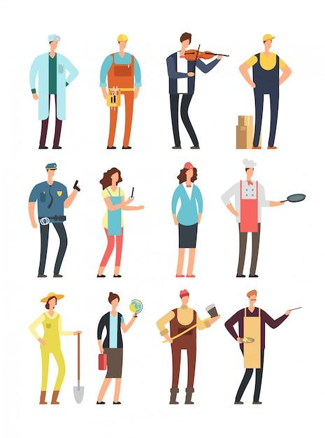 Uomo e lavoratrici con strumenti in uniforme. Vettore Premium