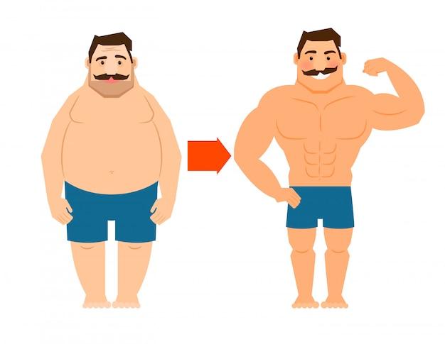 Uomo grasso e magro con i baffi Vettore Premium
