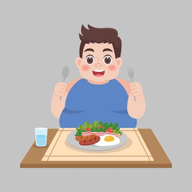 Uomo grasso pronto a mangiare cibi Vettore Premium