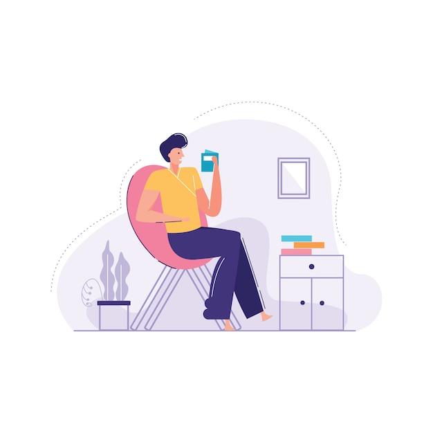 Uomo illustrazione vettoriale di poltrona relax Vettore Premium