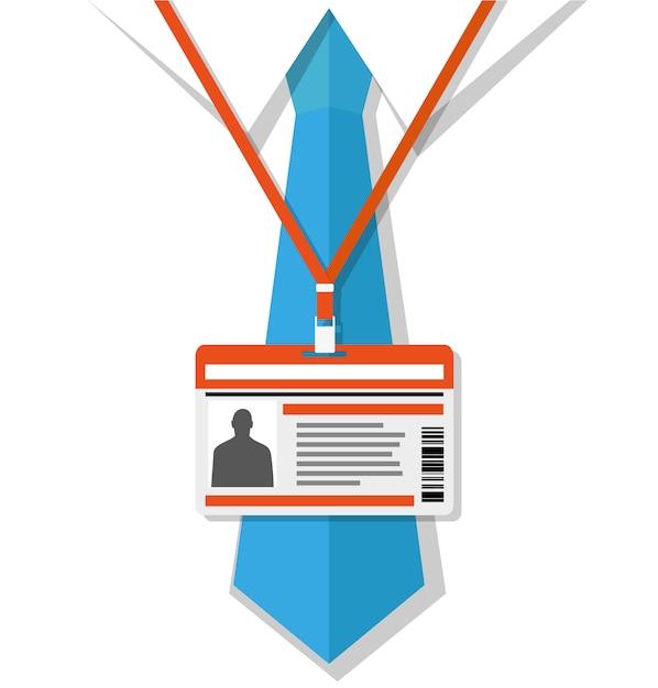 Uomo in camicia con cravatta e badge Vettore Premium