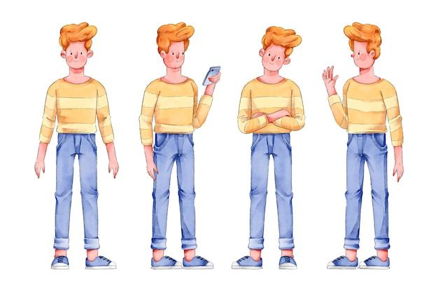 Uomo in camicia gialla personaggio pone Vettore gratuito