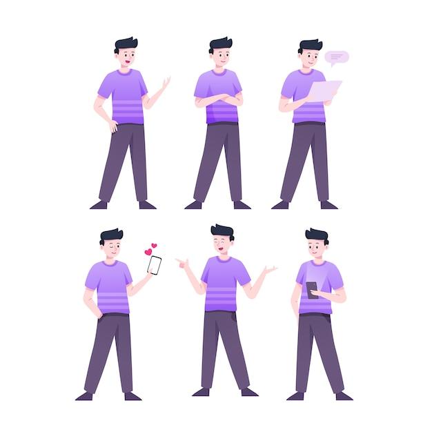 Uomo in camicia viola personaggio pone Vettore gratuito