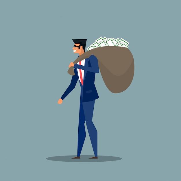 Uomo in giacca e cravatta, in maschera con un sacco di soldi sul retro. Vettore Premium