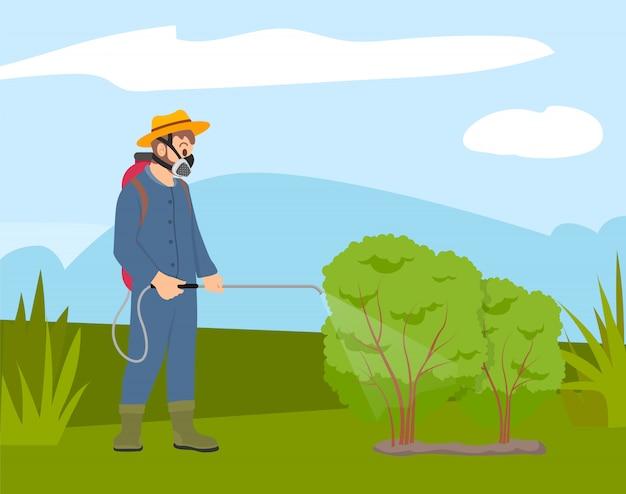 Uomo in maschera protettiva a spruzzo su piante, agricoltore Vettore Premium