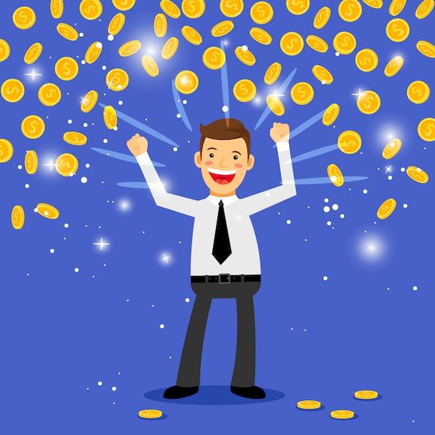 Uomo in piedi sotto le monete che cadono Vettore Premium