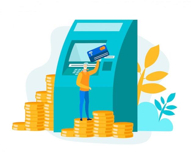 Uomo in piedi sulla pila di monete con carta vicino bancomat Vettore Premium