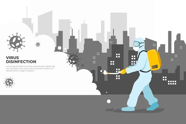 Uomo in tuta ignifuga pulizia della città dal virus Vettore gratuito