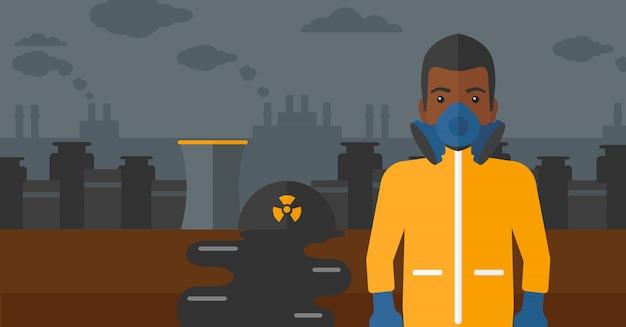 Uomo in tuta protettiva chimica. Vettore Premium
